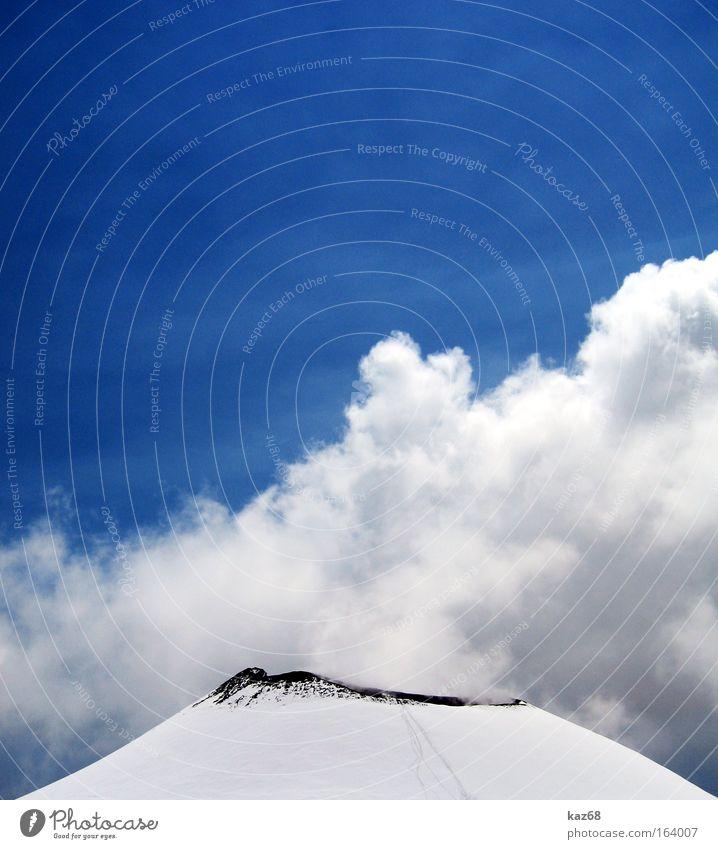 Vulkan blau Winter schwarz Wolken kalt Schnee oben Berge u. Gebirge Wege & Pfade Eis Brand hoch Erde Feuer Italien Spuren