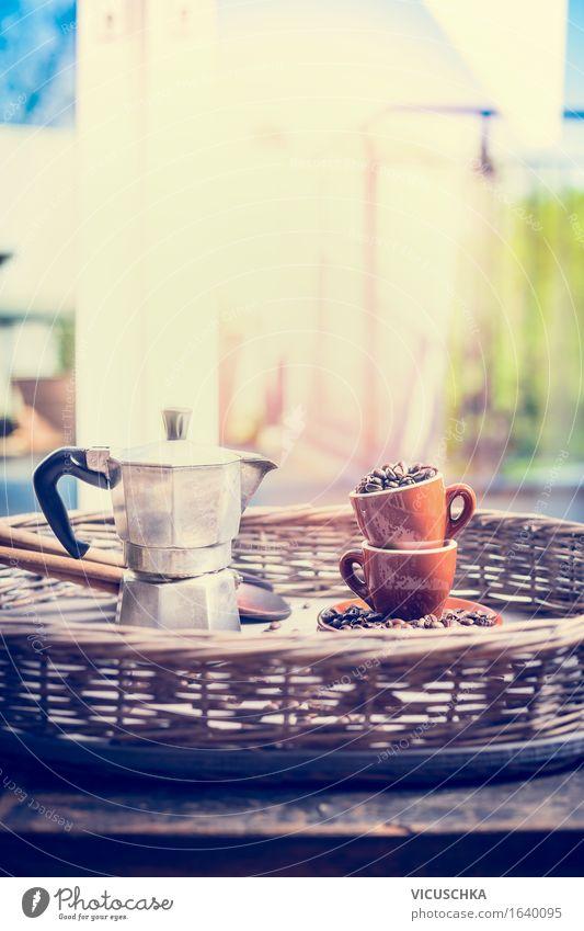 Morgen. Zuhause. Espresso Lebensmittel Italienische Küche Getränk Heißgetränk Geschirr Tasse Lifestyle Stil Design Häusliches Leben Wohnung Haus Traumhaus