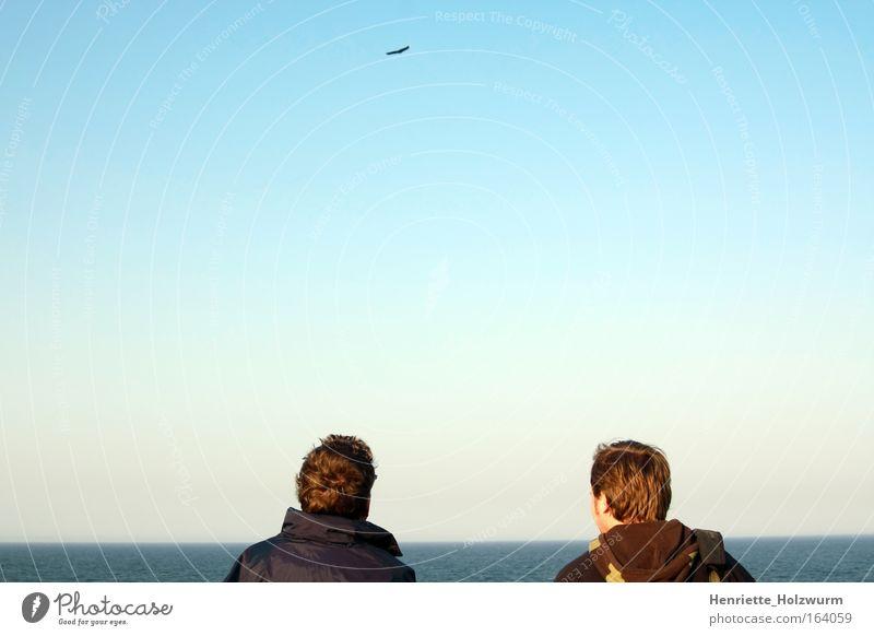Ich blickte zum Horizont und fand die Ruhe... Textfreiraum oben Ferien & Urlaub & Reisen Meer Mensch maskulin Mann Erwachsene 2 Natur Luft Wasser Himmel