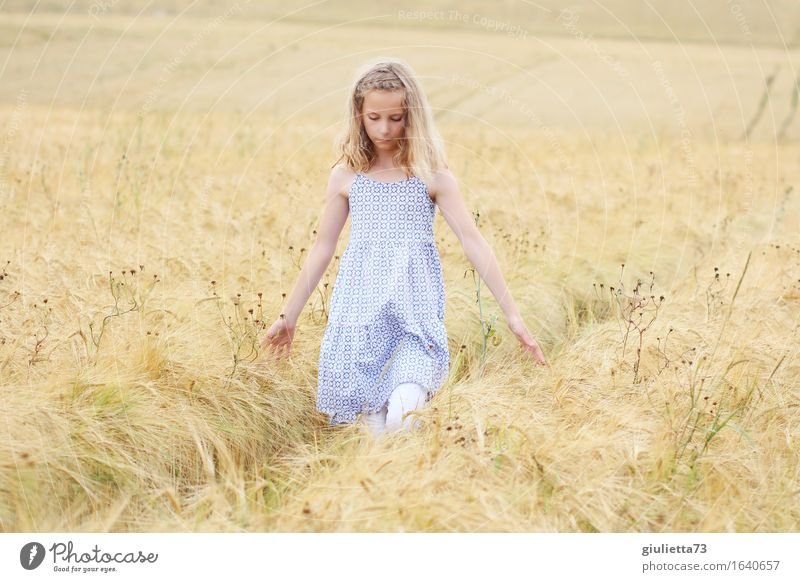 summer feeling || Spielen feminin Kind Mädchen Kindheit 1 Mensch 8-13 Jahre berühren Denken gehen träumen natürlich schön Gefühle geheimnisvoll Glaube