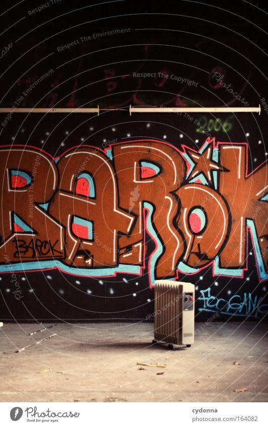 [DD|Apr|09] Barok Leben Wand Graffiti Mauer Energiewirtschaft ästhetisch Schriftzeichen planen Häusliches Leben Wandel & Veränderung Kommunizieren Vergänglichkeit Kultur Warmherzigkeit Kreativität Zeichen