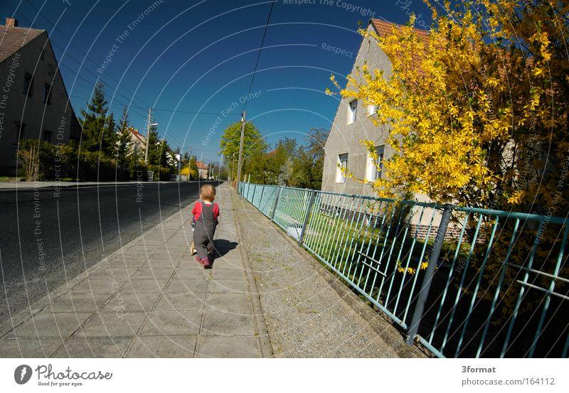 am Nachmittag Mensch Mädchen Straße Bewegung klein Wärme träumen Kindheit Zufriedenheit gehen Abenteuer Erfolg Wachstum Zukunft Wandel & Veränderung niedlich