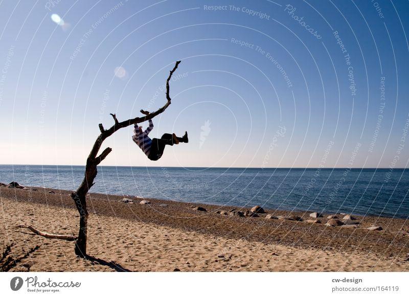 Dein Foto zeigt Personen Mensch Mann Wasser Baum Ferien & Urlaub & Reisen Meer Sommer Strand Freude Einsamkeit Erwachsene Erholung Spielen Freiheit Küste See