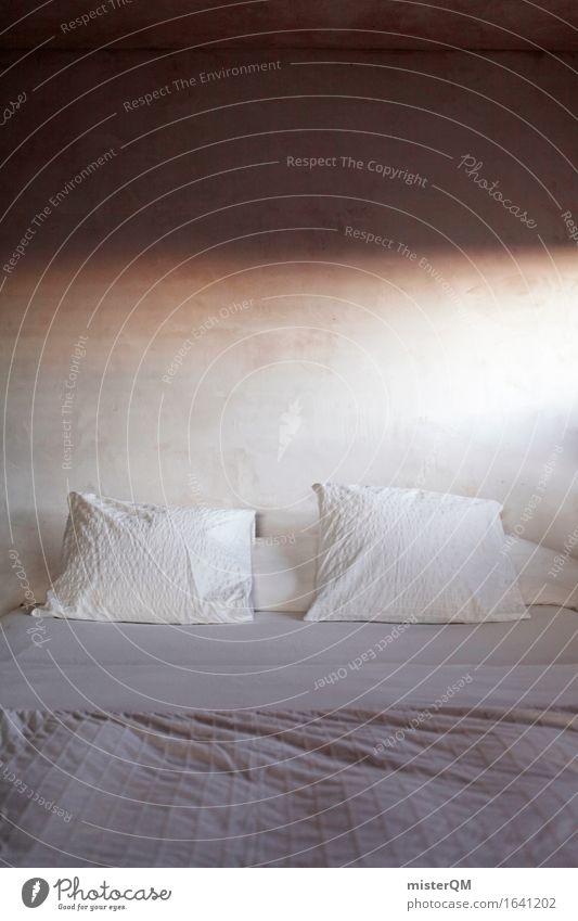Zwei Kissen Kunst Kunstwerk ästhetisch Bett Bettwäsche Bettdecke Bettlaken weich schlafen Schlafzimmer ruhig Erholung Schlafplatz Farbfoto mehrfarbig