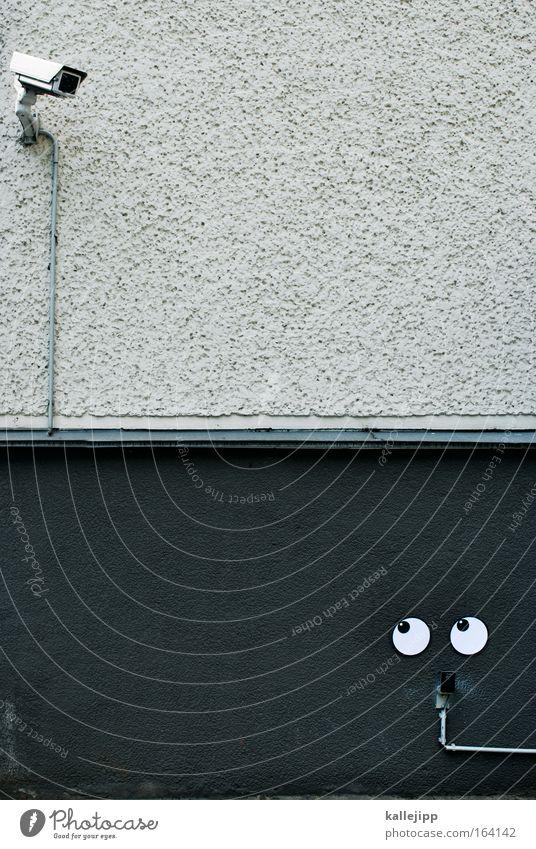1984 Arbeit & Erwerbstätigkeit Angst Sicherheit entdecken Zaun Grenze verstecken Politik & Staat Comic Videokamera Medien Video Linse Vorsicht privat Überwachung