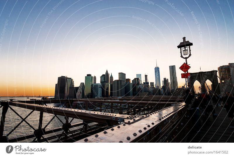 Brooklyn Bridge Ferien & Urlaub & Reisen Ferne Straße Architektur Wege & Pfade Gebäude Freiheit Stimmung Tourismus Hochhaus Ausflug Brücke Abenteuer Bauwerk USA