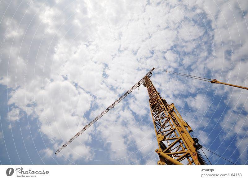 Einen heben blau gelb Arbeit & Erwerbstätigkeit Wachstum Industrie Baustelle Technik & Technologie Wandel & Veränderung Beruf stark Stahl Unternehmen Wirtschaft Kran Karriere Konkurrenz