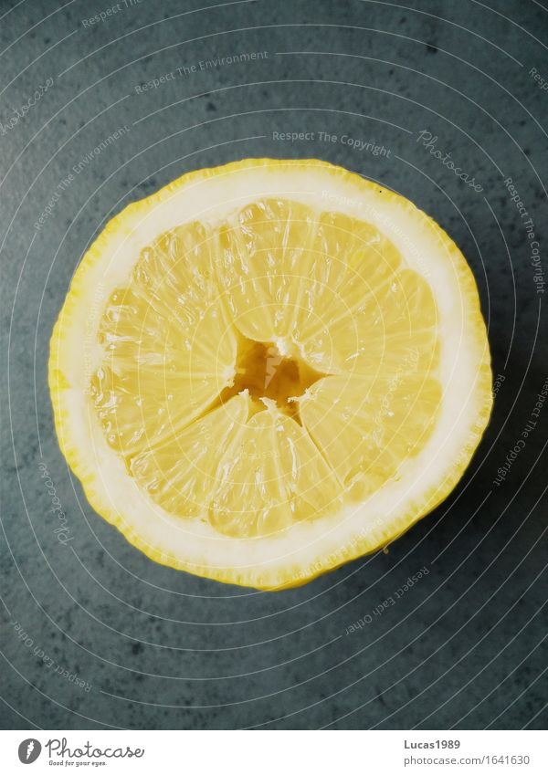 Zitrone im Querschnitt Lebensmittel Frucht Zitrusfrüchte Limone Orange Ernährung Bioprodukte Vegetarische Ernährung Vitamin C vitaminreich Gesundheit gelb grau