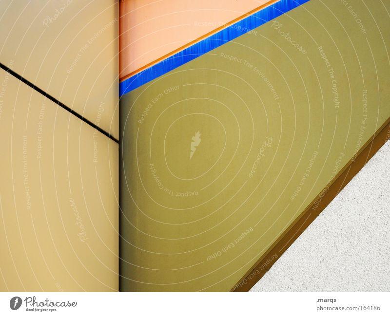 Beige Farbfoto Gedeckte Farben Außenaufnahme Textfreiraum links Textfreiraum rechts Textfreiraum Mitte Stil Design Architektur Fassade ästhetisch blau braun