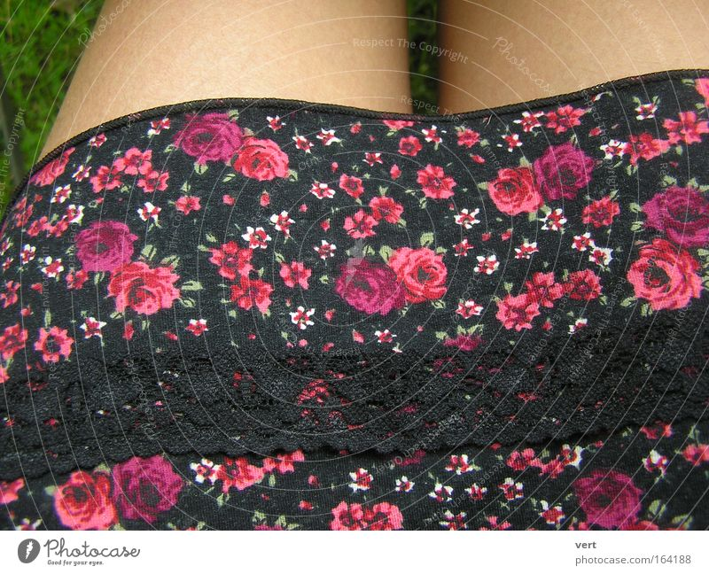 bavarian_summer Frau Mensch schön Sommer schwarz Erwachsene Erholung feminin Wiese Beine Freizeit & Hobby rosa sitzen Bekleidung Rose Stoff