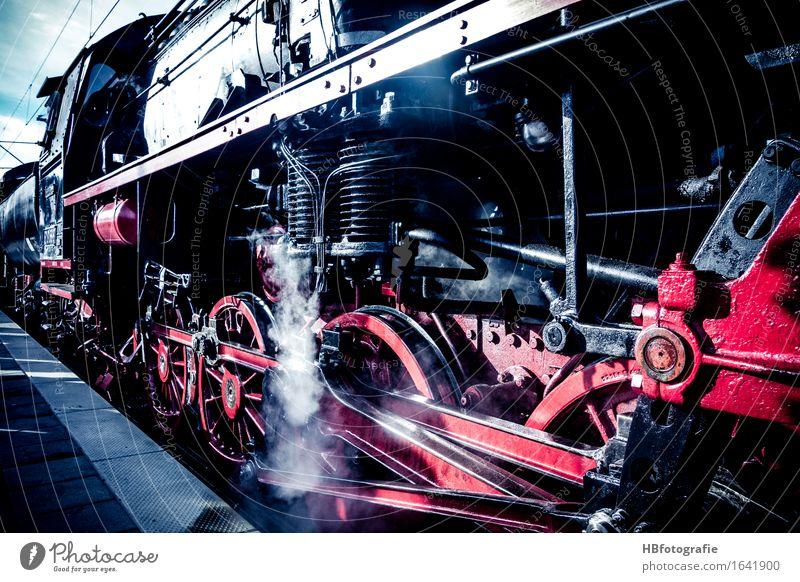 Steampower schwarz Verkehr Kraft Eisenbahn Feuer Güterverkehr & Logistik Rad Personenverkehr gigantisch Wasserdampf Zahnrad Verkehrsmittel Lokomotive Bahnfahren