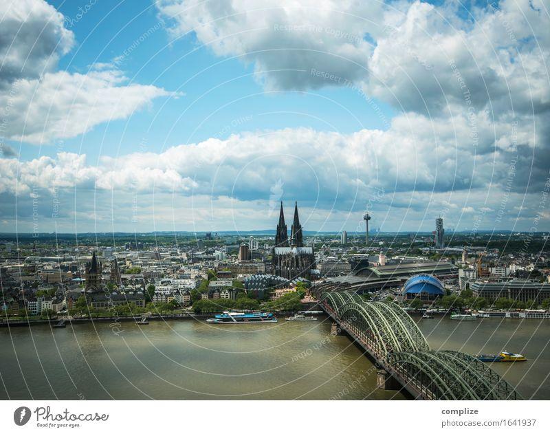 Köln wechselnd bewölkt Ferien & Urlaub & Reisen Stadt Sonne Wolken Umwelt Business Horizont Tourismus Verkehr Kirche Klima Brücke Skyline Wahrzeichen Denkmal