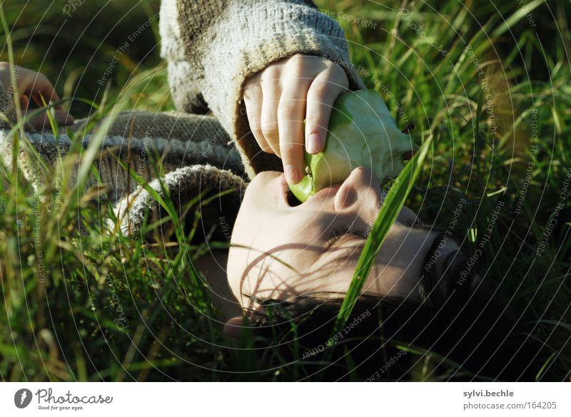 Das Leben kann so einfach sein ... Apfel Essen Picknick Gesundheit Zufriedenheit Erholung Natur Gras Wiese genießen liegen frisch Unendlichkeit natürlich saftig