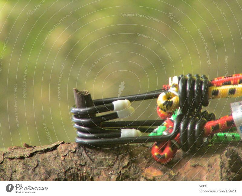 Natur und Technik Freizeit & Hobby Baum Metall schwarz Baumrinde Gummiband Ast Spanngurte Farbfoto mehrfarbig Außenaufnahme Nahaufnahme Textfreiraum oben