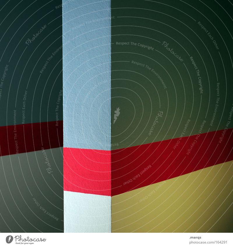 Leitfaden blau rot Wand Mauer Linie Architektur Hintergrundbild abstrakt ästhetisch Ecke Sauberkeit Streifen leuchten Grafik u. Illustration