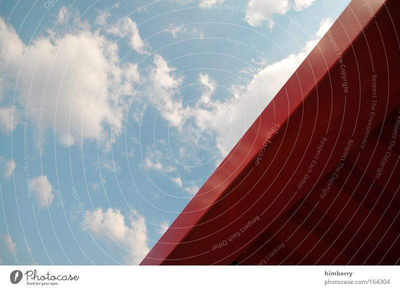 ich geb mir die kante Himmel blau rot Wolken Umwelt Architektur Stil Metall Kraft Design Erfolg Zukunft Baustelle einzigartig einfach Fabrik