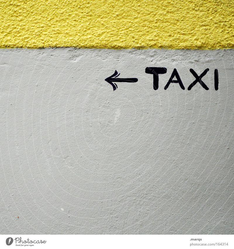 Taxi Taxi Ferien & Urlaub & Reisen gelb grau Zeit Arbeit & Erwerbstätigkeit Fassade Schilder & Markierungen Verkehr Tourismus Schriftzeichen Hinweisschild