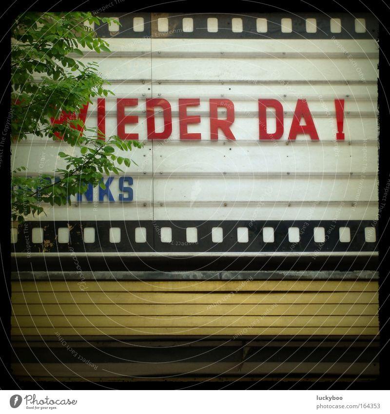 Wieder da! weiß rot Erholung Glück Linie Kunst warten Fassade Schilder & Markierungen Beginn authentisch Schriftzeichen Hoffnung retro Show Kultur