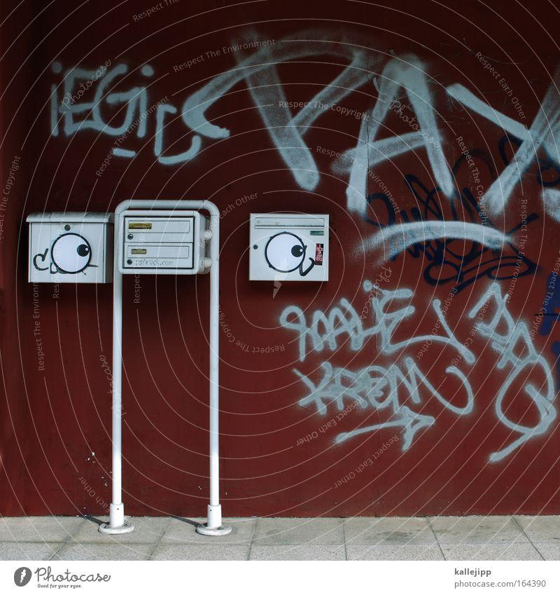 keine werbung Gesicht Auge Wand Mauer Nase Kontakt E-Mail Post Videokamera Informationstechnologie Briefkasten Klingel Überwachung privat Hauseingang senden