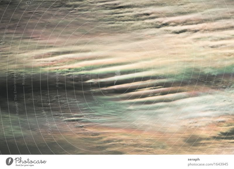 Wolkenbild Cirrus fibratus iridescent Halo Hintergrundbild mehrfarbig Wellen weich Muster Strukturen & Formen Linie Meteorologie Wetter Klima Umwelt