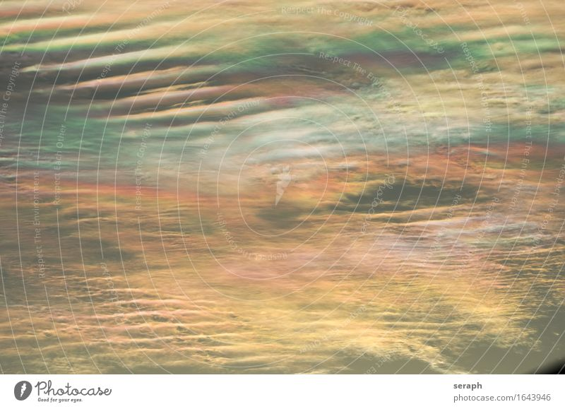 Wolkenlandschaft Cirrus fibratus iridescent Halo Hintergrundbild mehrfarbig Wellen weich Muster Strukturen & Formen Linie Meteorologie Wetter Klima Umwelt