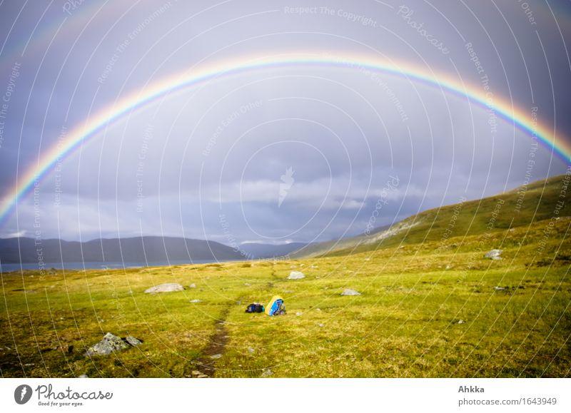 Regenbogentor Erholung Landschaft ruhig Berge u. Gebirge Gesundheit Freiheit Zufriedenheit wandern Beginn Zukunft Fußweg Dach Schutz Sicherheit Zusammenhalt