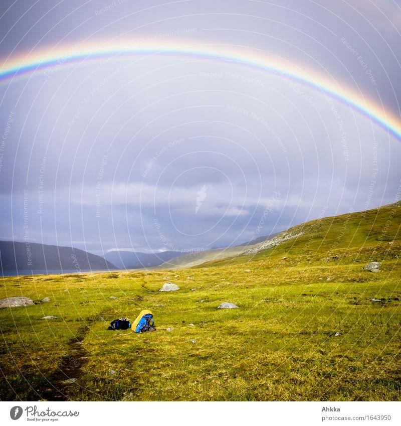 Himmel- & Erdenweg II blau grün Landschaft Ferne Religion & Glaube Wege & Pfade Regen träumen wandern Kraft Perspektive Zukunft Schönes Wetter Vergänglichkeit