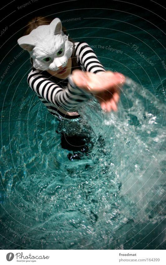 wasserschneetiger Frau Mensch Katze blau Wasser schön Freude Tier Erwachsene Erholung feminin Leben träumen Tanzen Schwimmen & Baden nass