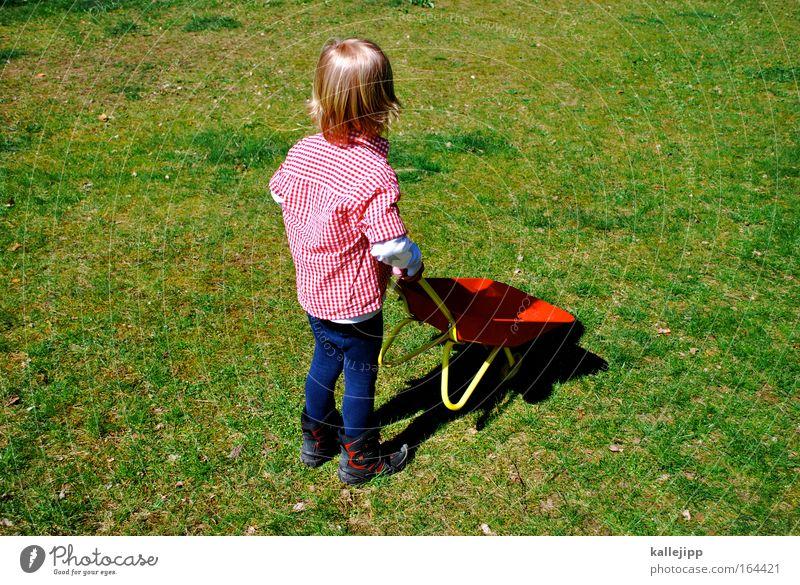 bob Kind grün Pflanze rot Arbeit & Erwerbstätigkeit Wiese Spielen Garten Park blond Güterverkehr & Logistik Baustelle Lebensfreude festhalten Platz Kindergarten