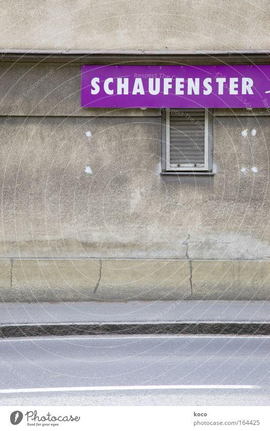 schaufensterschauen Stadt Haus Straße Fenster grau Gebäude Schriftzeichen violett Werbung entdecken Überraschung Stadtrand