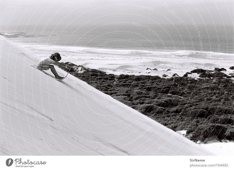 98 [endlessly downward] Leben Ferien & Urlaub & Reisen Ferne Freiheit Strand Meer Sandboard Kind Junge 8-13 Jahre Kindheit Landschaft Küste Coolness frei