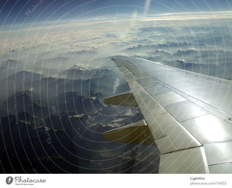 Alptraum Natur schön Himmel Berge u. Gebirge Deutschland Flugzeug Italien Klarheit Alpen Tragfläche Blauer Himmel