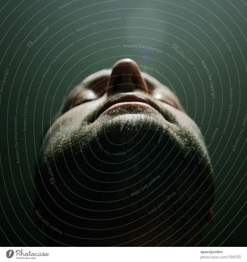 Light Mensch Gesicht ruhig träumen Kopf Mund maskulin Nase Perspektive Hoffnung Sicherheit Vertrauen Gelassenheit leuchten genießen kurzhaarig