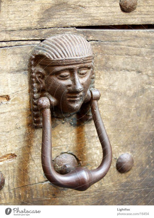 Türklopfer Italien Ägypten Pharaonen Holz Dinge alt Tor Metall