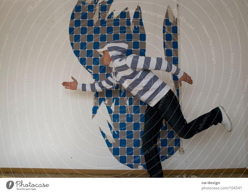 Stars And Stripes Mensch Jugendliche blau weiß Freude Erwachsene Freiheit Tanzen gehen maskulin rennen Geschwindigkeit verrückt stehen Streifen 18-30 Jahre