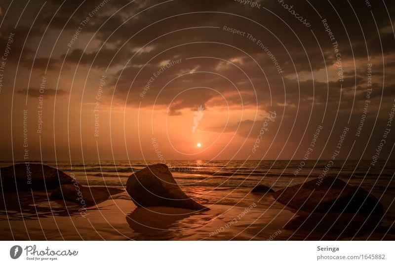 Sonnenuntergang-Farbenspiel Ferien & Urlaub & Reisen Tourismus Abenteuer Ferne Freiheit Sommer Sommerurlaub Strand Wellen Natur Landschaft Wasser Himmel