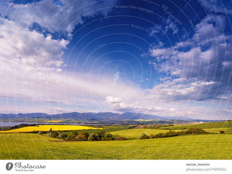 Stadt und grüne Frühlingshügel in der Slowakei. Mai sonnige Landschaft Natur Ferien & Urlaub & Reisen blau Pflanze schön Sommer Baum Wolken Haus Wald