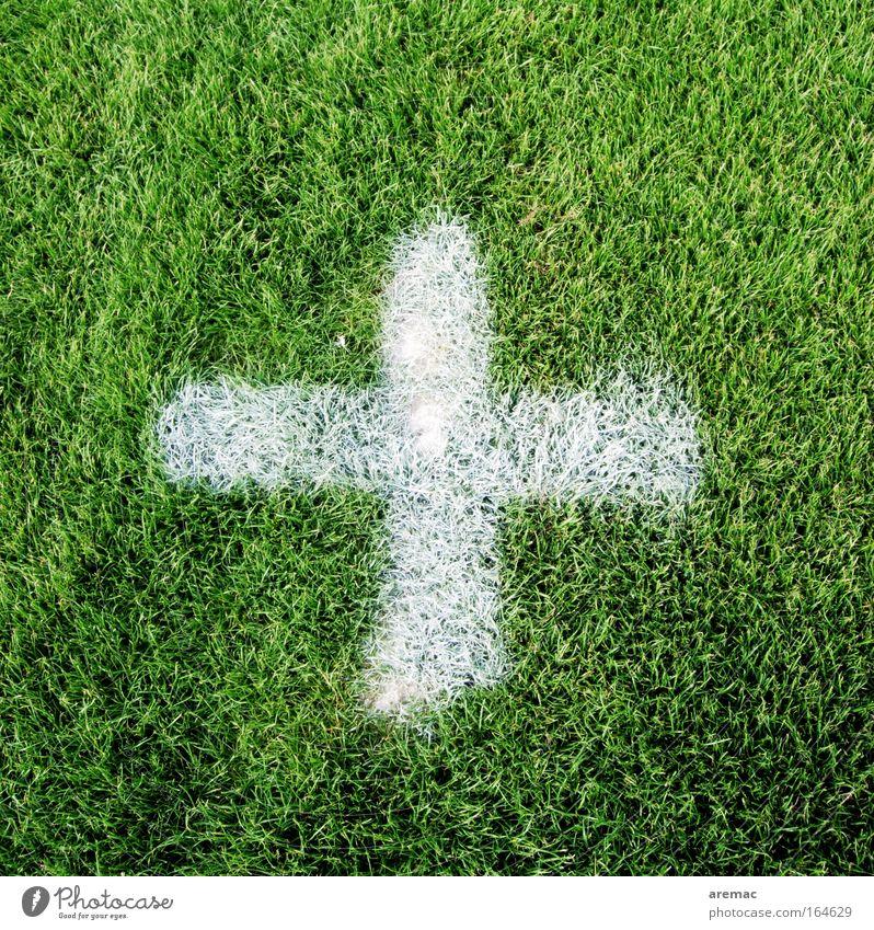Elfmeterpunkt (Zeitgeist-Version) weiß grün Spielen Gras Freizeit & Hobby Kreuz Fußballplatz Entscheidung Beschluss u. Urteil Ball Ballsport Elfmeter