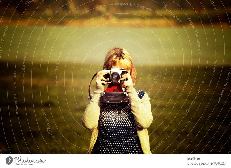 Im Fokus Mensch Jugendliche schön Sommer Freude Erwachsene Wiese feminin lustig blond gold Freizeit & Hobby Fotografie 18-30 Jahre Junge Frau Körperhaltung