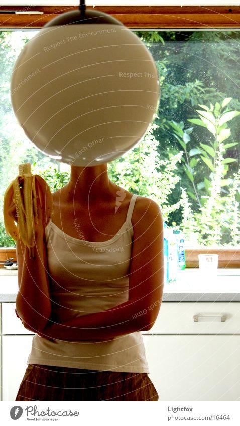Lampenkopf Momentaufnahme Banane Küche Frau lustig Kunst Globus Fenster Top Mensch Kopf Schalen & Schüsseln Arme