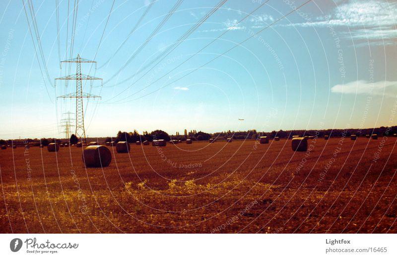 Das Feld mir Strohballen Flugzeug Landwirtschaft Weizen Herbst Strommast Mähdrescher Freizeit & Hobby Himmel gold Ernte Natur