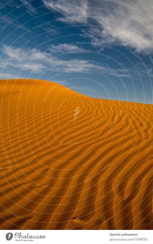 der Himmel über der Wüste Farbfoto mehrfarbig Außenaufnahme Menschenleer Textfreiraum oben Abend Licht Schatten Ferien & Urlaub & Reisen Expedition Sand Klima