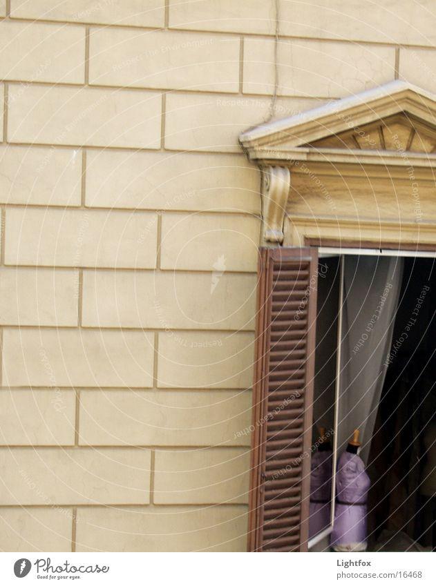 Büste am Fenster Haus Wand Fensterladen Holz violett Italien Vorhang Fototechnik klassisch. klassizismus Einsamkeit