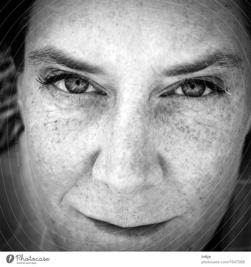 irgendein Titel mit Stroh in den Wimpern Stil Frau Erwachsene Leben Gesicht 1 Mensch Lächeln Blick nah Identität einzigartig selbstbewußt direkt Vignettierung