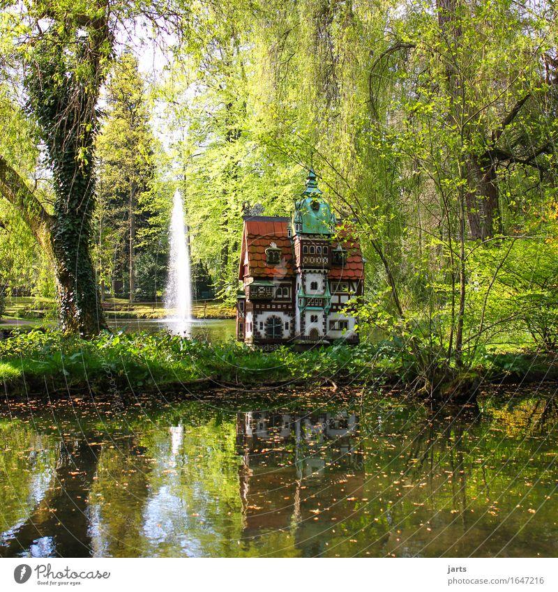entenschloss Landschaft Wasser Frühling Sommer Schönes Wetter Baum Blatt Grünpflanze Park Teich Traumhaus Burg oder Schloss alt außergewöhnlich exotisch