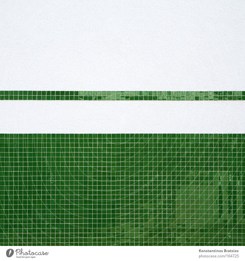 Freiraum Grün-Weiss weiß grün Linie glänzend Fassade nah Sauberkeit Fliesen u. Kacheln Putz Glätte kariert Muster