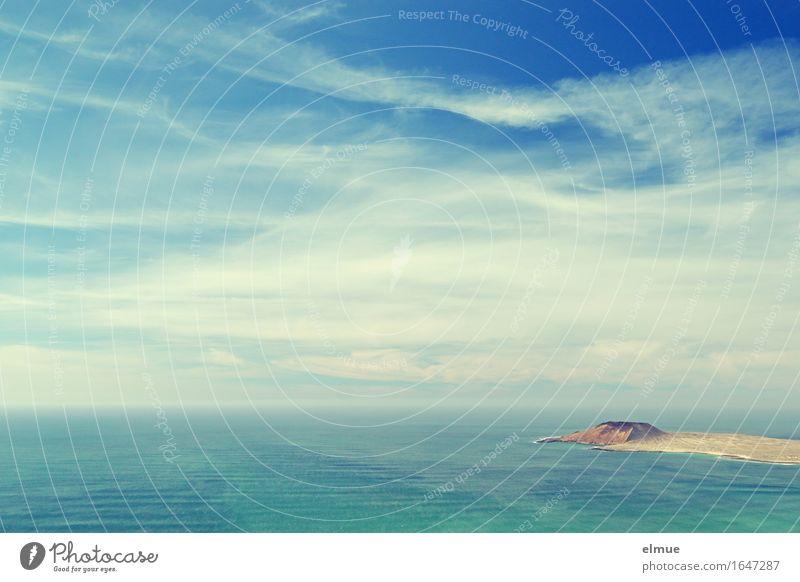 reif für die Insel Ferien & Urlaub & Reisen Sommerurlaub Meer Urelemente Himmel Wolken Schönes Wetter Wellen Küste Ferne maritim blau Glück Zufriedenheit