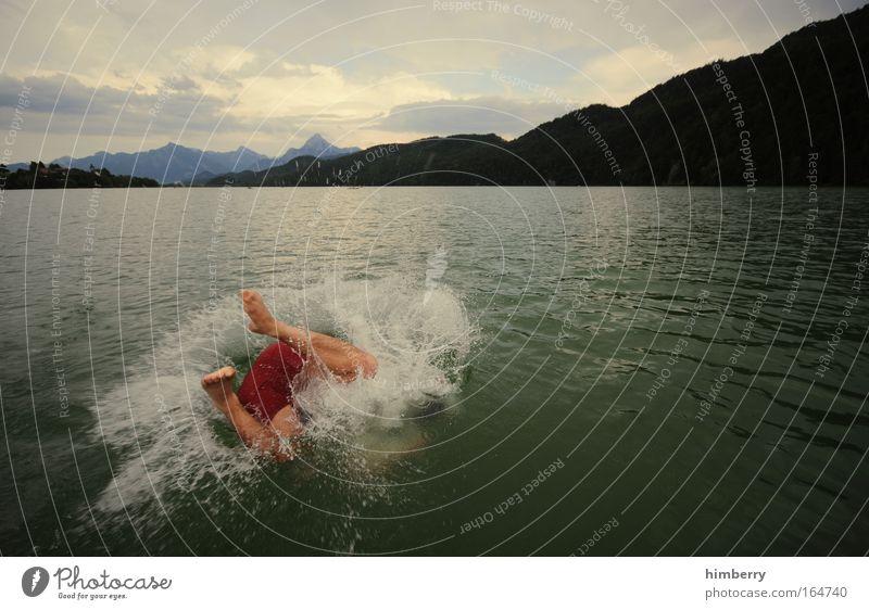 seitensprung Mensch Wasser Ferien & Urlaub & Reisen Sommer Freude Erwachsene Leben Freiheit See Beine Fuß Freizeit & Hobby groß maskulin frisch Ausflug