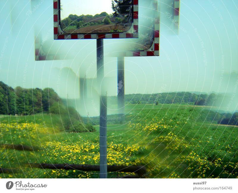 Die Welt ist ein Kaleidoskop Straßenverkehr gefährlich Spiegel Hinweisschild Autofahren Verkehrsschild Verkehrszeichen Warnschild