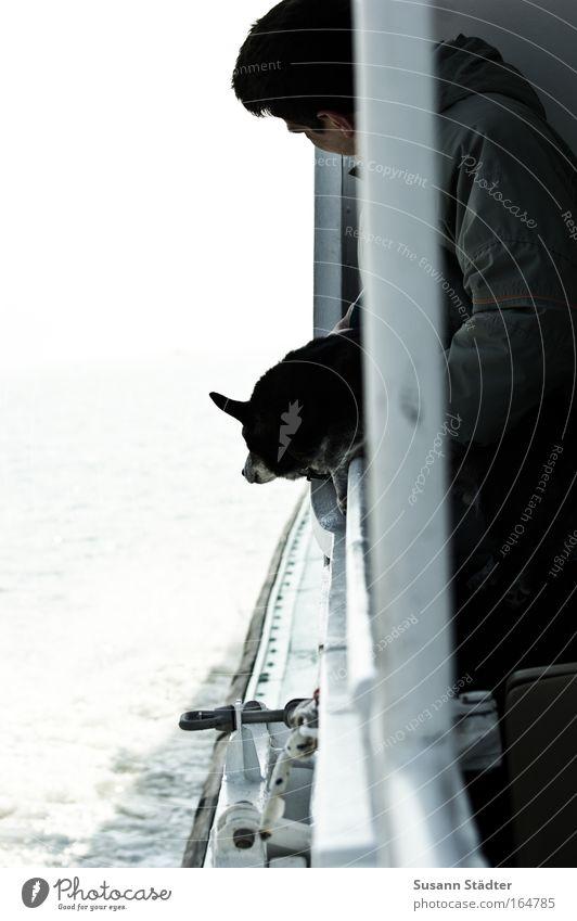 Nordseeluft schnuppern Mensch Mann alt Wasser Meer Strand Tier Erwachsene Hund Luft Freundschaft Wellen Horizont Zusammensein Wind maskulin